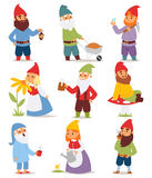 Gnome garden set funny little character cute fairy tale dwarf man in cap and cartoon holiday old leprechaun gardening Royalty Free Stock Photo