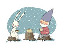 The gnome and the hare drink tea in the forest. Elf and rabbit on a picnic. stock images