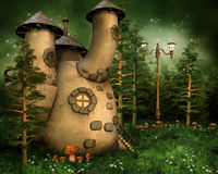 Gnome house in the forest. Fantasy gnome house in pine forest Stock Image
