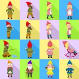 Gnome icons set, flat style. Gnome icons set. Flat set of gnome vector icons for web design vector illustration