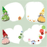 Gnome labels. Lovely gnome cards or frames Stock Image