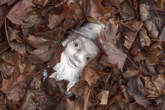 Gnome among leaves Stock Image