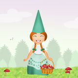 Gnome with mushrooms in the forest Royalty Free Stock Photography