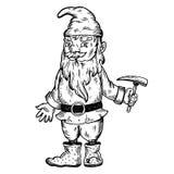 Gnome mythical creature engraving vector Stock Photos