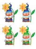 Gnome och blomma Arkivfoton