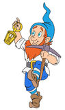 Gnome with pickaxe and lantern. Illustration of funny gnome with pickaxe and lantern Royalty Free Stock Photo