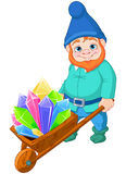 Gnome with Quartz crystals Stock Photos