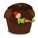 Gnome sleeping in the cake. Isolated vector object. Isolated object on a white background Royalty Free Stock Photography