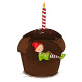 Gnome sleeping in the cake. Vector illustration drawn by hand. Isolated object on a white background Stock Images