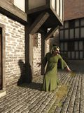 Gnome Sneaking Through the Streets. Sly fantasy gnome character sneaking through the streets of a medieval style city, 3d digitally rendered illustration Stock Image