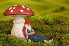 Gnome somnolent de jardin Photo libre de droits