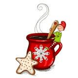 Gnome su una tazza di caffè immagini stock libere da diritti