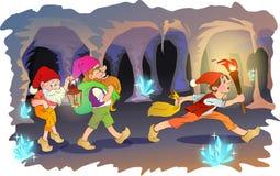 Gnome trois dans une caverne Photo stock