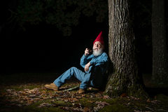 Gnome under tree 1. A venerable garden gnome relaxes under a forest tree Stock Photo