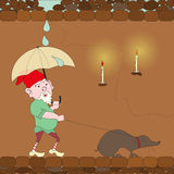 Gnome walking with mole. And closing an umbrella from the rain, eps10 Stock Photography