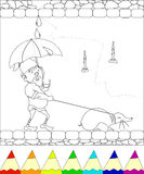 Gnome walking with mole. Coloring page, gnome walking with mole and closing an umbrella from the rain, eps10 Stock Images