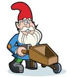 Gnome and wheelbarrow. Cartoon Garden Gnome pushing a wheelbarrow Stock Photography