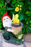 Gnome with yellow flowers. Gnome and frog with yellow flowers Stock Image