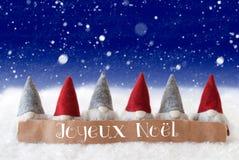 Gnomen, blauer Hintergrund, Schneeflocken, Joyeux Noel Means Merry Christmas Stockbild