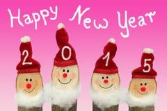Gnomen des guten Rutsch ins Neue Jahr-2015 - vier mit lächelndem Gesicht Lizenzfreies Stockbild