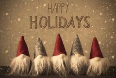 Gnomen, Schneeflocken, Kalligraphie frohe Feiertage Lizenzfreie Stockbilder
