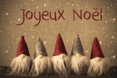 Gnomen, Sneeuwvlokken, Joyeux Noel Means Merry Christmas stock afbeelding