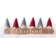Gnomen, weißer Hintergrund, Adventszeit bedeutet Advent Season Stockfoto