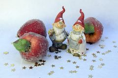 Gnomes and apples stock images