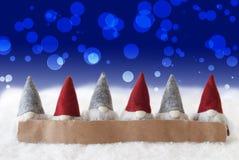 Gnomes, Blue Background, Bokeh, Copy Space Stock Photo