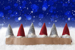 Gnomes, Blue Background, Bokeh, Snowflakes, Copy Space Royalty Free Stock Image