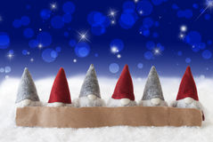 Gnomes, Blue Background, Bokeh, Stars, Copy Space Royalty Free Stock Photo