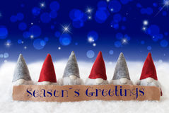 Gnomes, Blue Background, Bokeh, Stars, Text Seasons Greetings Stock Images