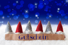 Gnomes, Blue Bokeh, Stars, Gutschein Means Voucher Royalty Free Stock Images