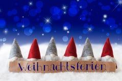 Gnomes, Blue Bokeh, Stars, Weihnachtsferien Means Christmas Break Stock Photos