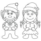 Gnomes, boy and girl, outline Stock Images