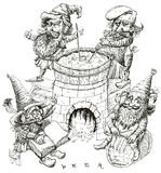 Gnomes brewers. vector. Gnomes cooked beer in ancient times. In the fairy tale. Engraving imitation Stock Image