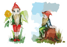 Gnomes child drawing  color two gnome Stock Photo