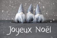Gnomes, ciment, flocons de neige, Joyeux Noel Means Merry Christmas image libre de droits