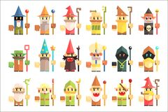 Gnomes, dwarfs or elf and leprechaun cartoon magic characters vector. Isolated Stock Image