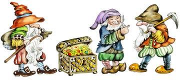Gnomes e tronco com tesouros. Fotos de Stock