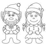 Gnomes, garçon et fille, contour Images stock