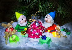 Gnomes with gifts. Christmas photo with gnomes and gifts Stock Images