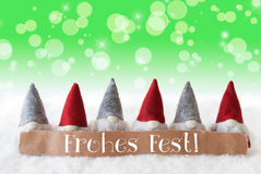 Gnomes, Green Background, Bokeh, Stars, Frohes Fest Means Merry Christmas Royalty Free Stock Images