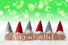 Gnomes, Green Background, Bokeh, Stars, Wunschzettel Means Wish List Stock Images