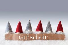 Gnomes, Green Background, Gutschein Means Voucher Royalty Free Stock Photos