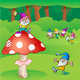 Gnomes and mushroom Royalty Free Stock Photography