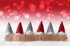 Gnomes, Red Background, Bokeh, Adventszeit Means Advent Season Royalty Free Stock Photo