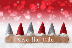 Gnomes, Red Background, Bokeh, Stars, English Text Save The Date Stock Photos