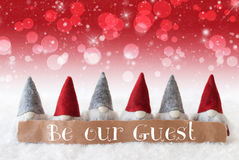 Gnomes, Red Background, Bokeh, Stars, Text Be Our Guest Stock Photos