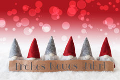 Gnomes, Red Bokeh, Frohes Neues Jahr Means Happy New Year Stock Images